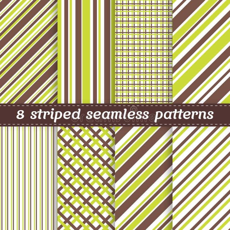 Set of 8 seamless geometric patterns with stripes vector illustration