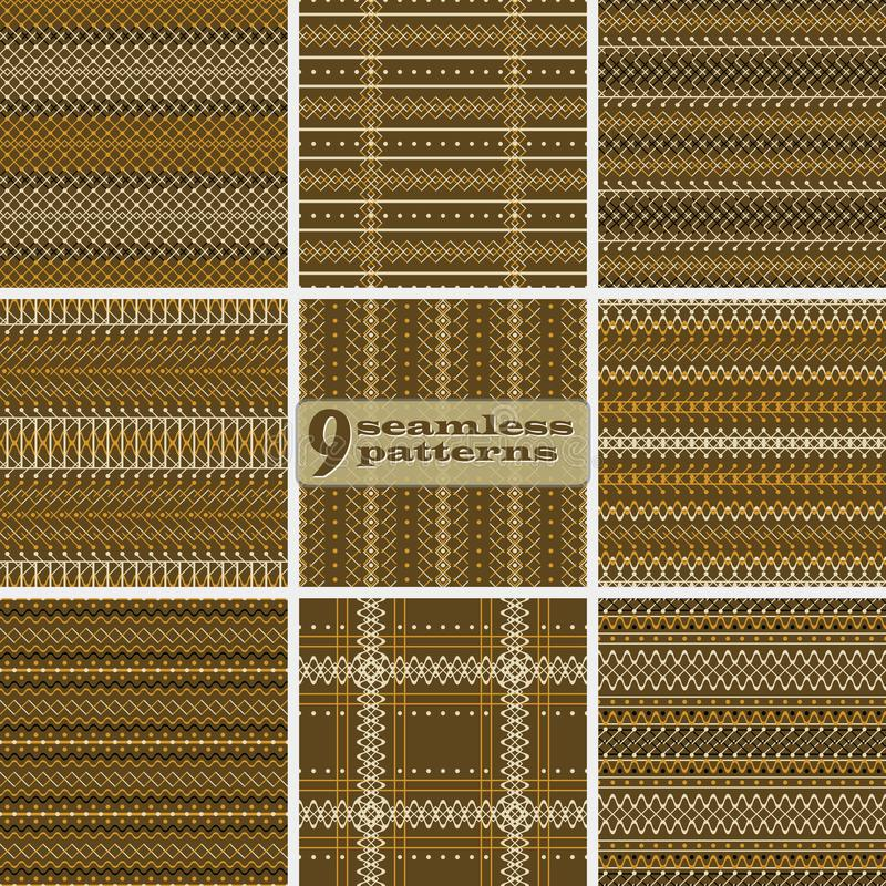 Set of seamless geometric rustic patterns in brown and orange co. Set of seamless abstract geometric patterns in brown and orange colors. Uncomplicated rustic vector illustration