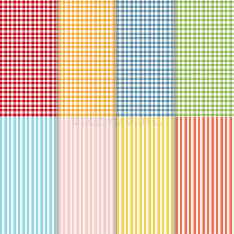 Set of seamless gingham, buffalo check plaid and bed linen patterns. Eight checkered and striped seamless patterns vector illustration