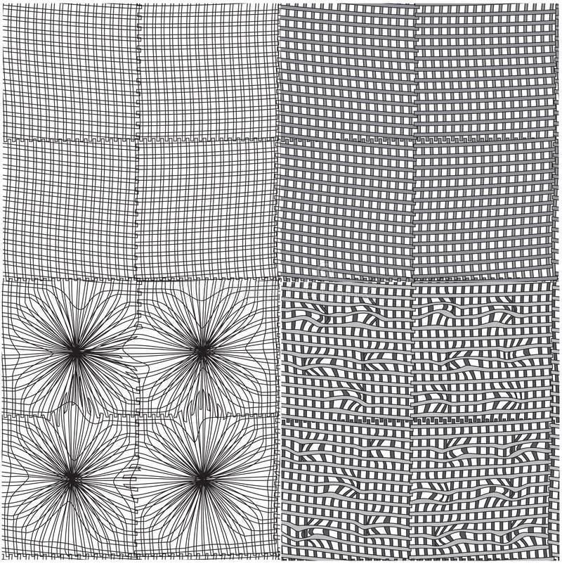 Set of seamless grunge geometric patterns vector illustration