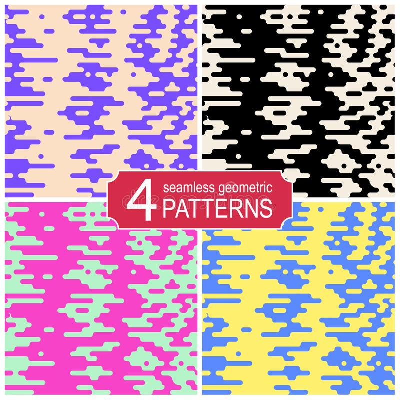 Set of seamless halftone transition vector patterns in retro color palette. Vintage fashion style. vector illustration