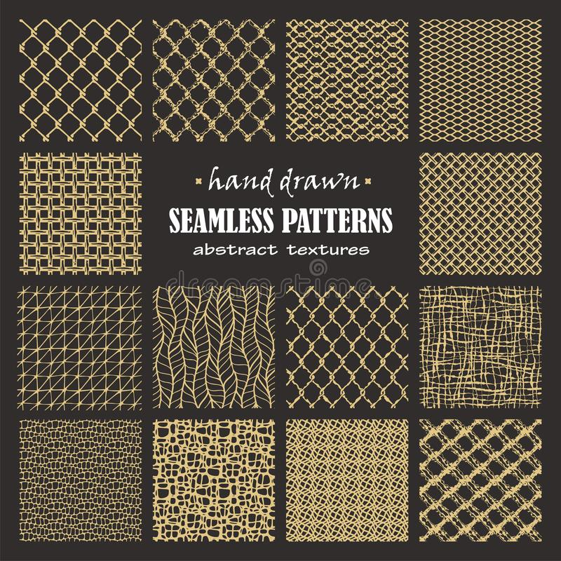 Set of seamless hand drawn marker and ink patterns. Abstract vector scratch textures with dots, strokes and doodles stock illustration