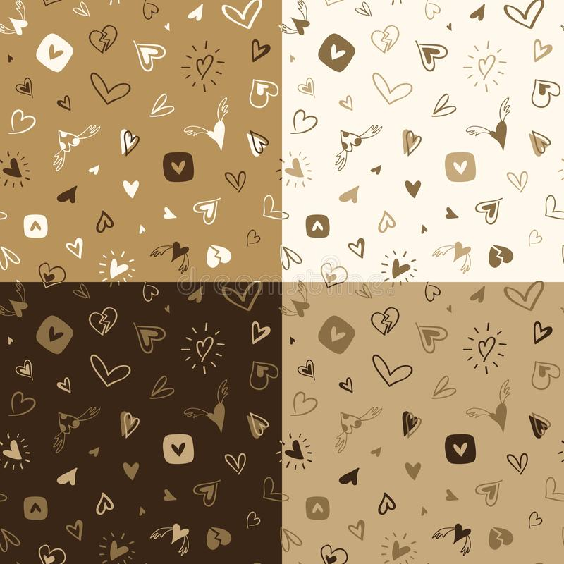 Set of seamless hand drawn patterns with hearts vector illustration