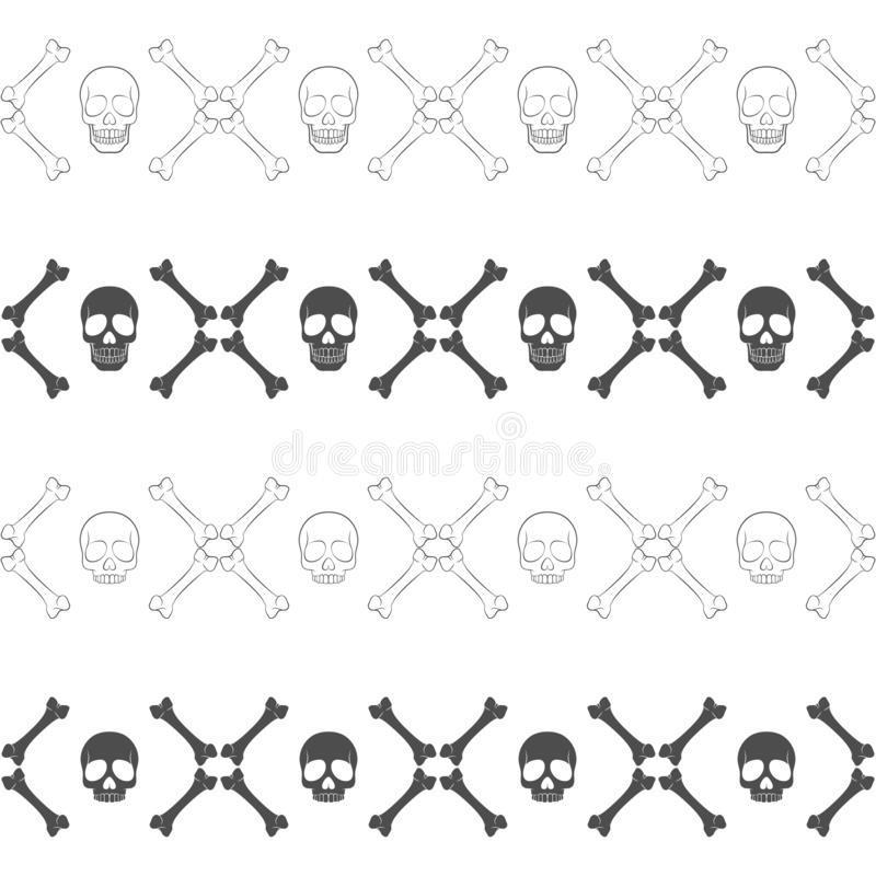 Set of seamless horizontal patterns with skull and bones. Vector pattern. vector illustration