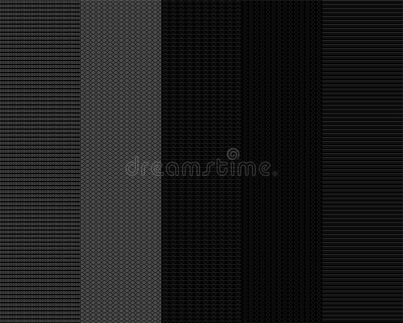 Set of monochrome seamless patterns 3 vector illustration