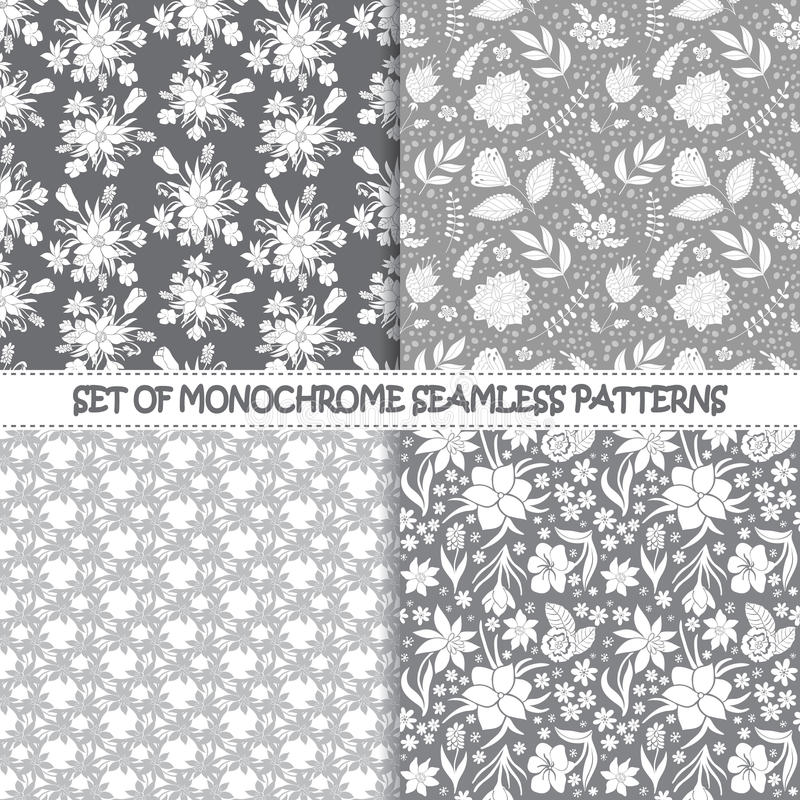 Set of seamless monochrome vector floral patterns. stock illustration