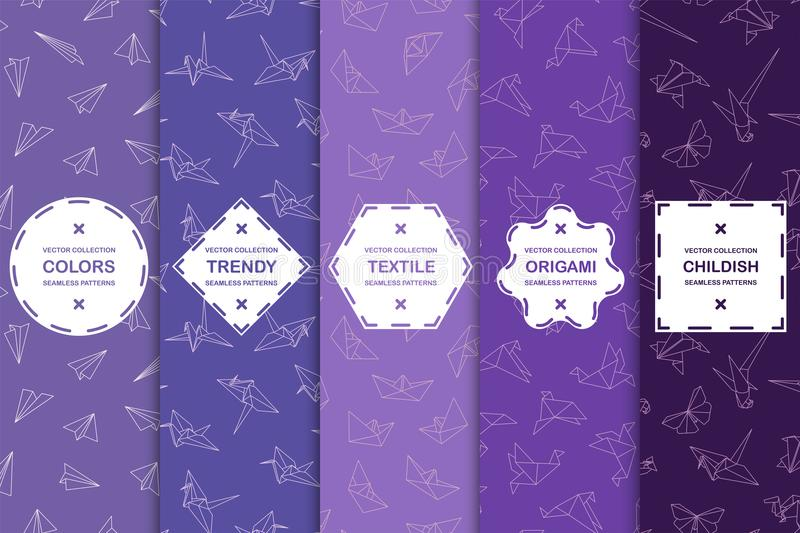 Set of seamless origami colorful patterns - drawing texture. Vector trendy backgrounds in violet shades stock illustration