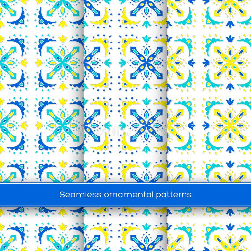 Set of seamless ornamental patterns. Traditional turkish, morrocan, arabesque, mexican ornaments, hand drawn vector. Set of seamless ornamental patterns stock illustration