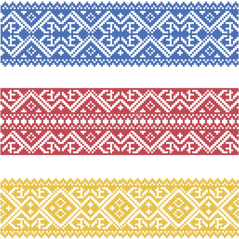 Set of seamless ornamented borders based on ukrainian embroidery vector illustration