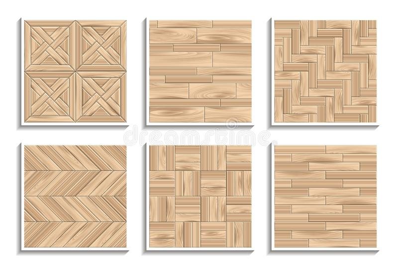 Set of seamless parquet textures. 3D patterns of wood materials vector illustration