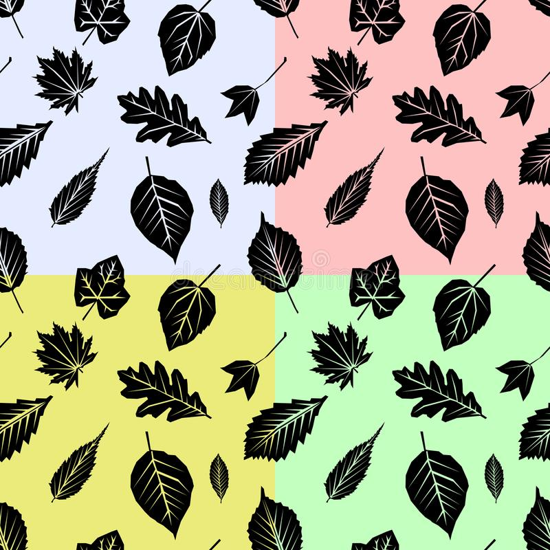 Set seamless pattern with fall leaves on color Background. Flat design Illustration. EPS royalty free illustration