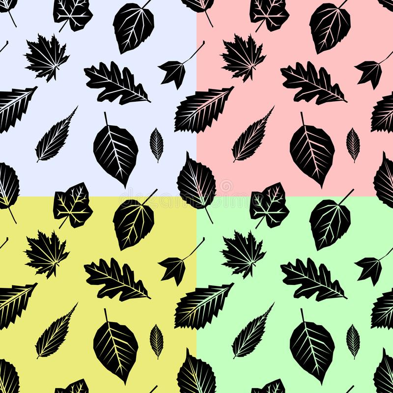 Set seamless pattern with fall leaves on color Background. Flat design Vector Illustration. EPS stock illustration