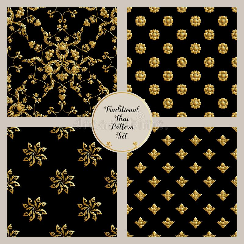 Set of seamless pattern with gold decorative elements of traditional Thai ornament. royalty free illustration