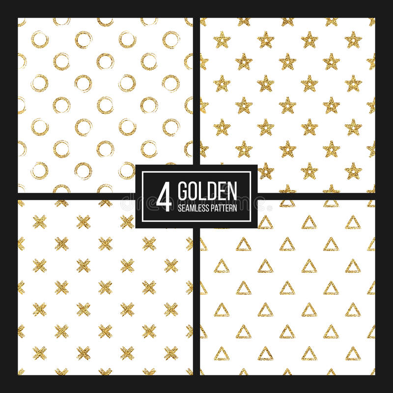 Set of seamless pattern gold glitter polka dots, triangle, star, cross vector illustration