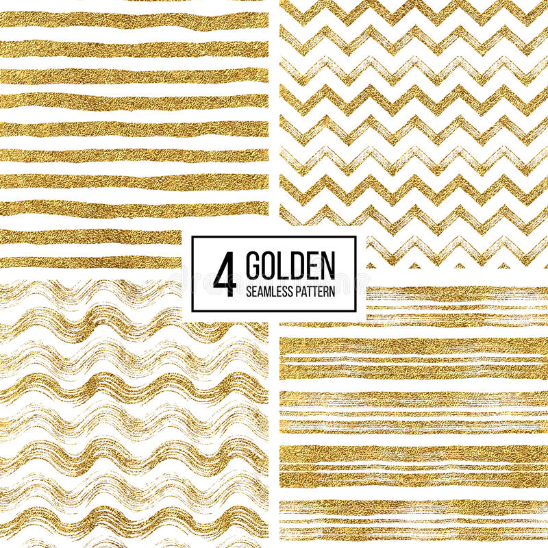 Set of seamless pattern gold glitter stripes, zigzag chevron, wavy stripe. Set of seamless pattern of gold glitter stripes, zigzag chevron, wavy stripe, seamless vector illustration
