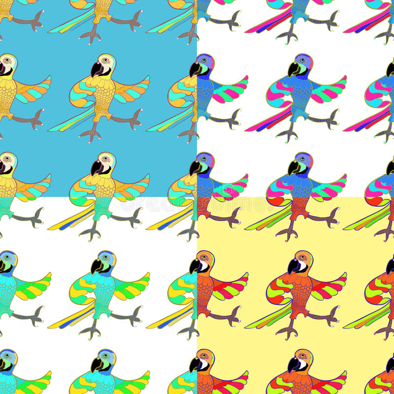 Macaw Parrot Pattern Set Stock Vector. Illustration Of