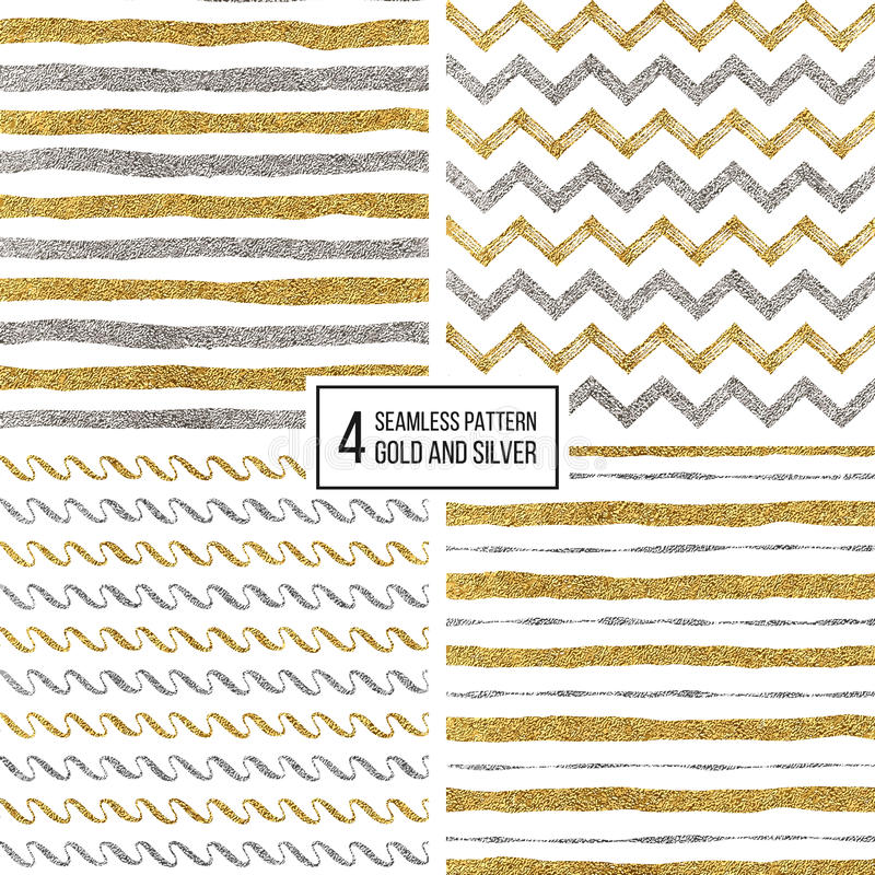 Set of seamless pattern gold and silver stripes, zigzag chevron, wavy stripe royalty free illustration