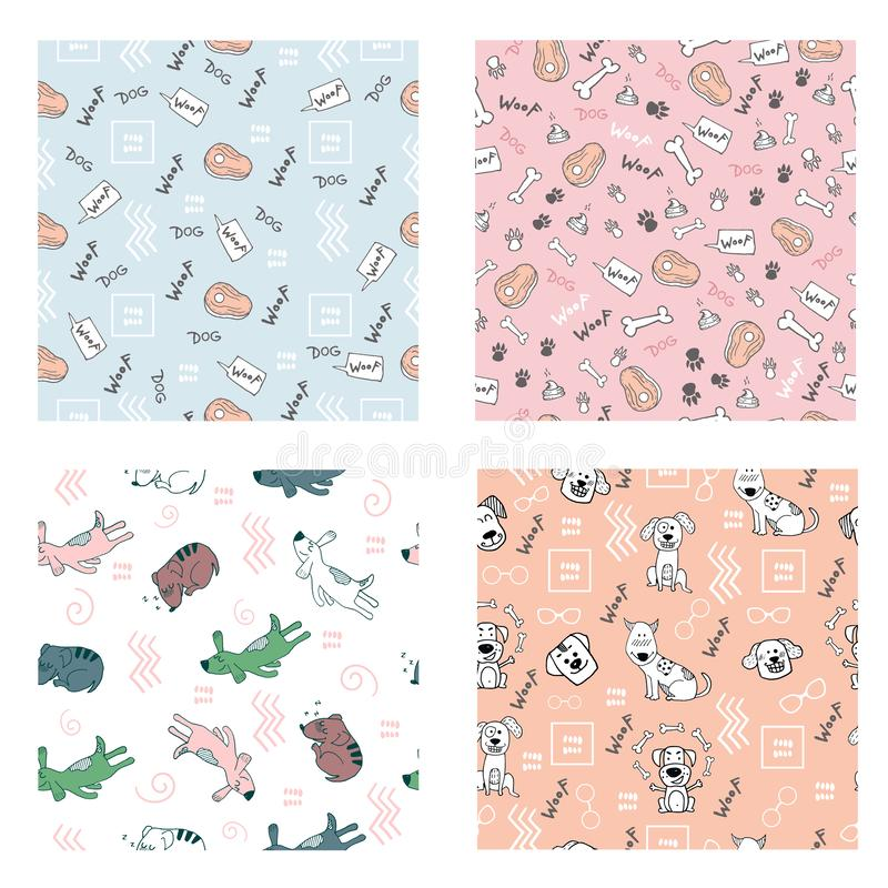 Set of seamless pattern with hand doodle funny dogs, bones, dog paw prints. Vector illustration as fabric, textile royalty free illustration