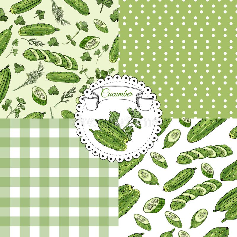 Set of seamless pattern of hand drawn green cucumbers and herbs. Ink and colored sketch. Whole and sliced elements. vector illustration