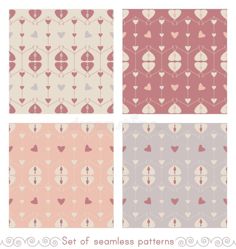 Set of seamless pattern with hearts and little hearts. Color orange, grey, red and cream ivory. Pastel colors. Vector. stock photo
