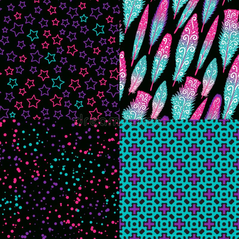 Set Seamless pattern. Modern Dark Bright design Abstract star, feather, cross. Vector illustration is isolated on a royalty free illustration