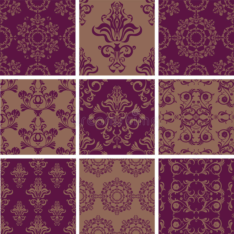 Set seamless pattern of ornament flowers royalty free illustration