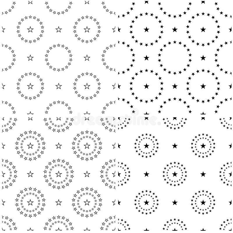 4 set seamless pattern of Stars. Stars background royalty free stock photography