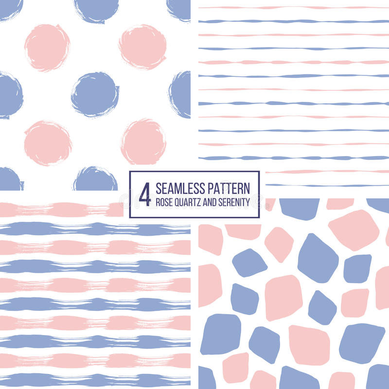 Set of seamless pattern stripes, polka dots, mosaic spots in color 2016 rose quartz and serenity. Set of seamless pattern of stripes, polka dots, mosaic spots in royalty free illustration