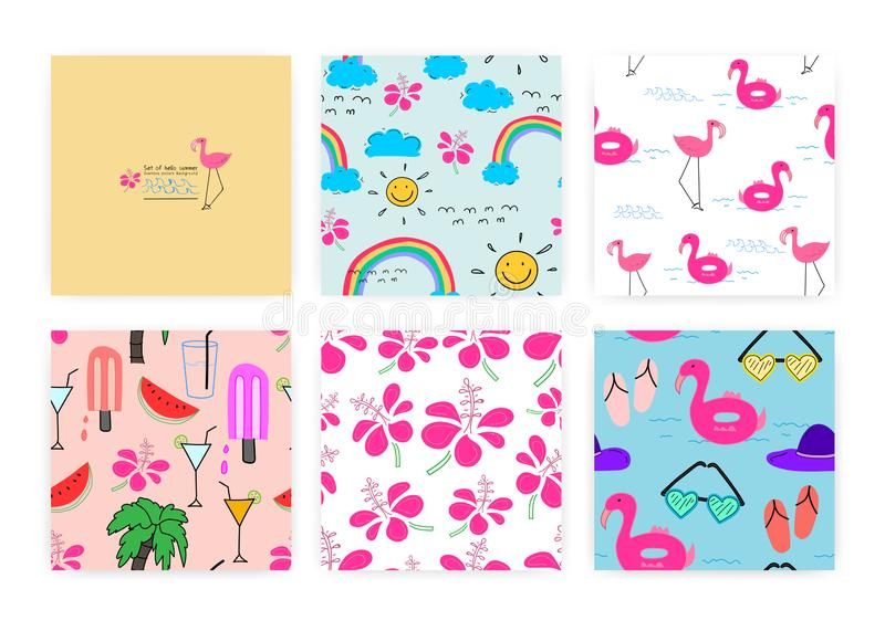 Set of seamless pattern with summer concept. Background Illustrations. stock illustration