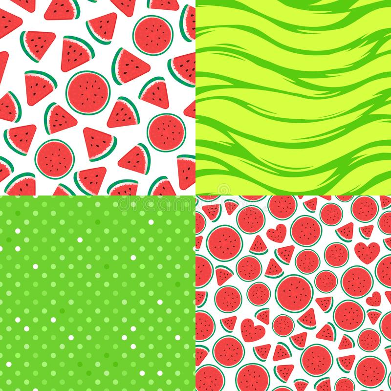 Set Seamless pattern surface design. Vector illustration on green background. Watermelon pieces, green polka dots, striped texture. Set Seamless pattern surface stock illustration
