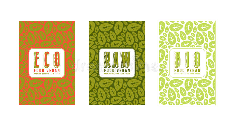 Set of seamless pattern and template labels for vegetarian foods stock illustration