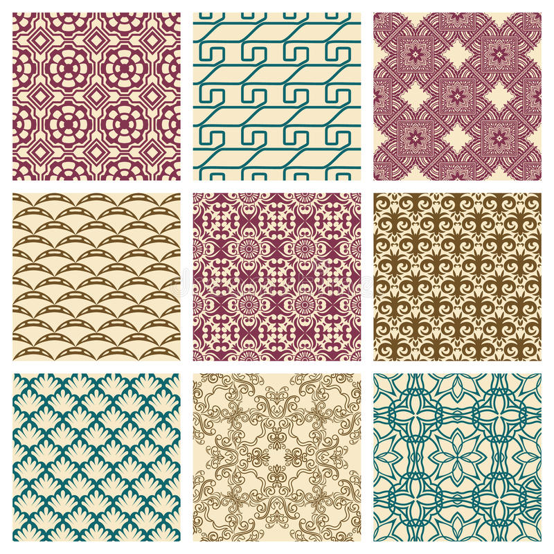 Set of seamless patterns stock illustration