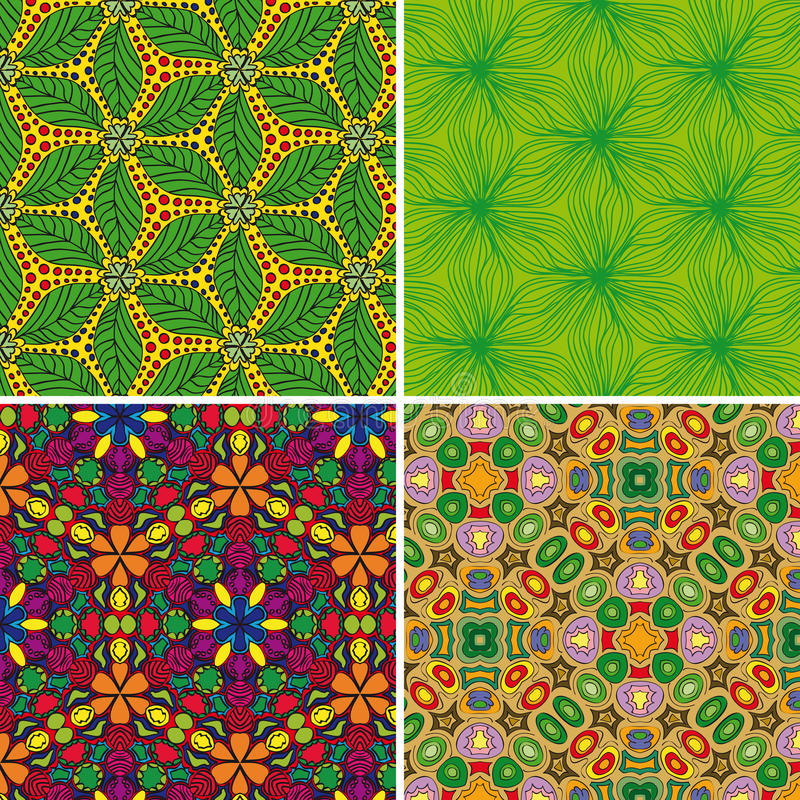 Set of seamless patterns 3 stock illustration