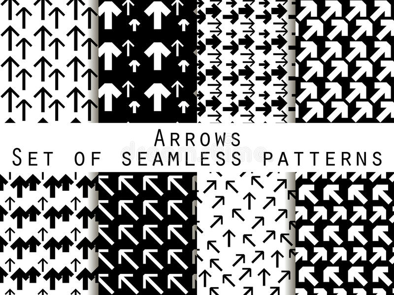 Set of seamless patterns with arrows. Black and white color. For wallpaper, bed linen, tiles, fabrics, backgrounds. vector illustration