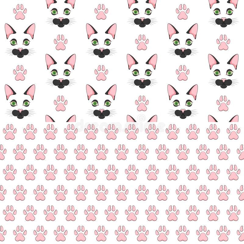 Set of seamless patterns with black cat face and paw prints. Colored vector backgrounds. royalty free illustration