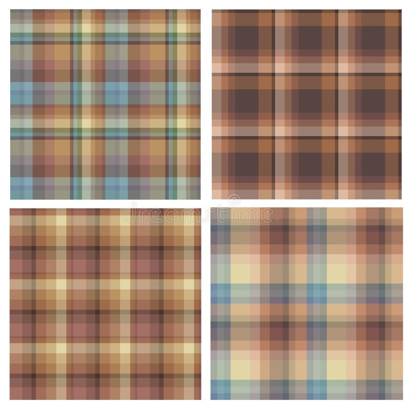 Set of seamless patterns in brown and blue tones for plaid, fabric, textile, clothes, tablecloth and other things. Vector image royalty free illustration