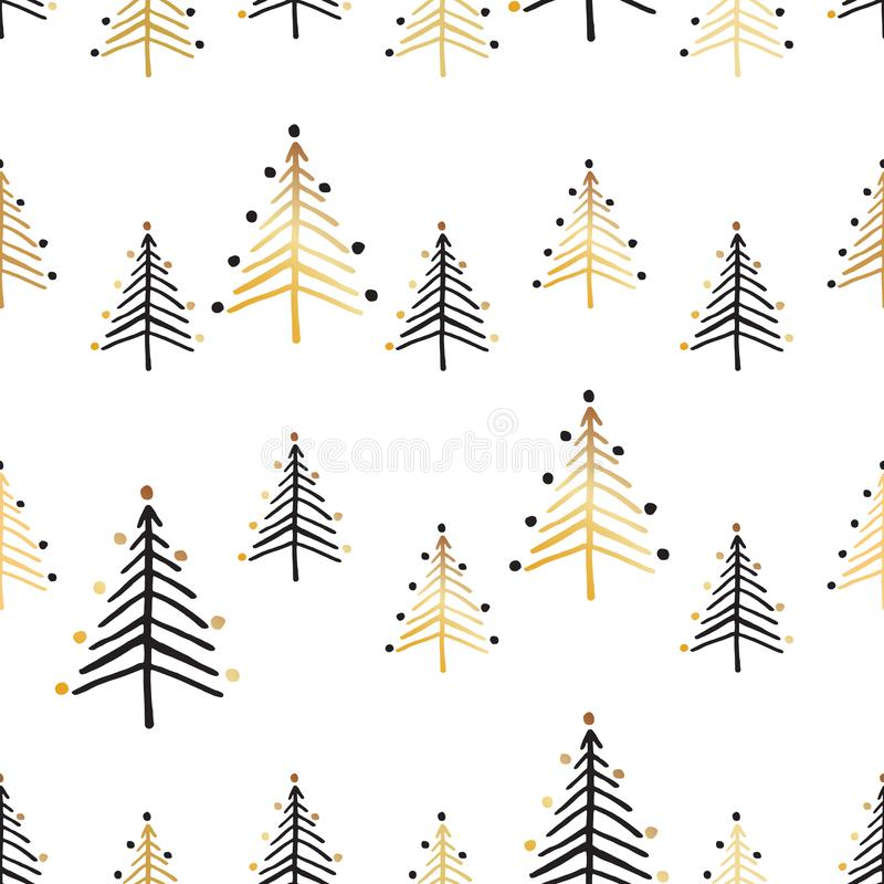 Set of seamless patterns with christmas trees in black and gold. Christmas set of vector hand drawn seamless patterns with christmas tree and stars in gold stock illustration