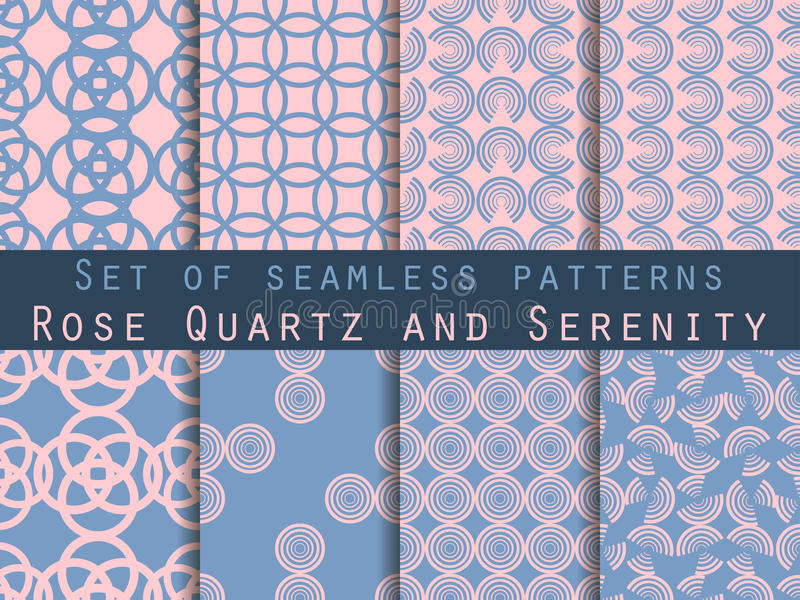Set of seamless patterns with circles. Modern stylish texture. Rose quartz and serenity violet colors. Vector. Illustration stock illustration
