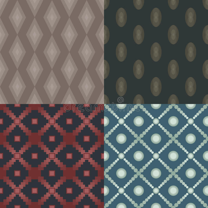 Set of 4 seamless patterns. Circles, squares, rhombus, ellipse royalty free illustration