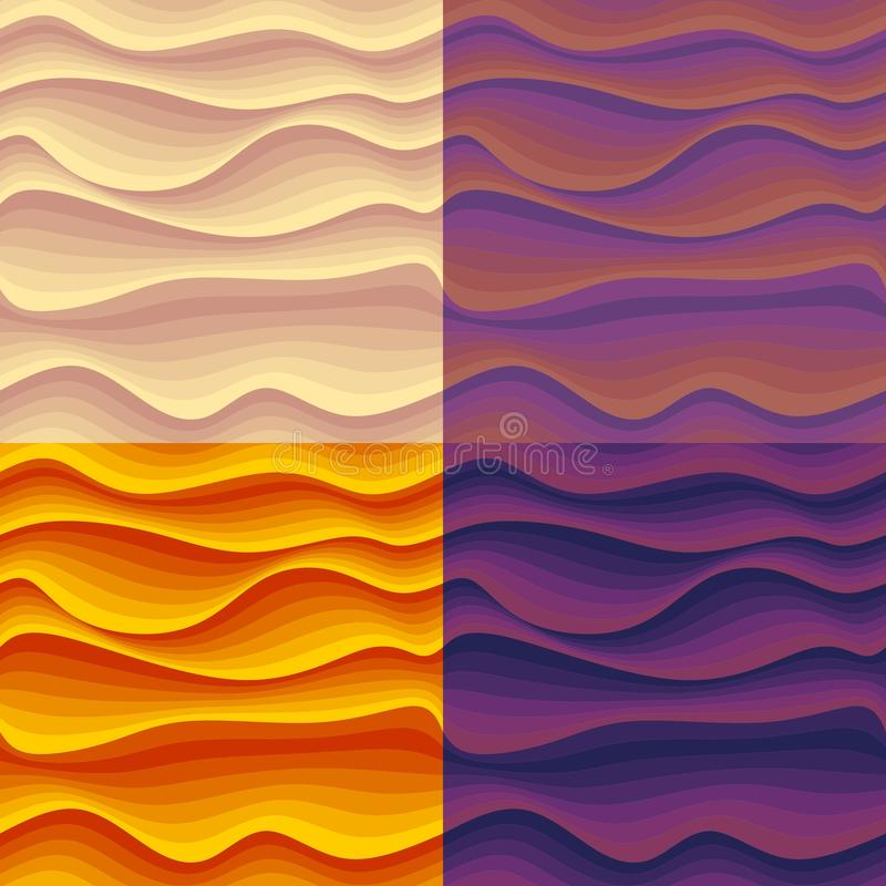 Set of seamless patterns with colorful abstract waves. vector illustration