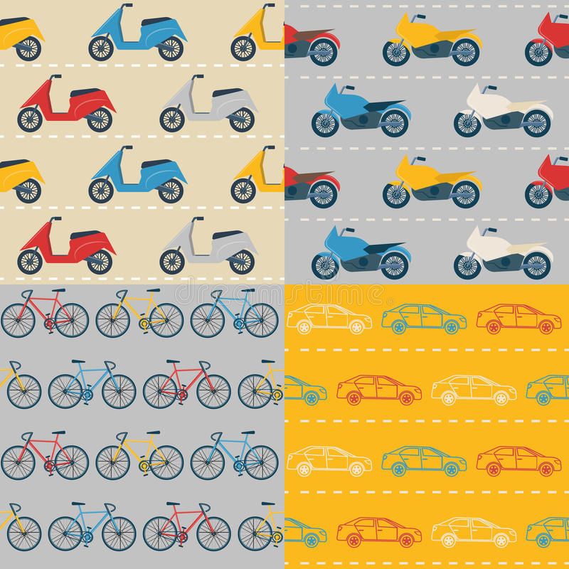 Set of seamless patterns with colorful transport. Collection of flat style seamless patterns with colorful transport. Flat style cars, bikes, motorbikes and royalty free illustration