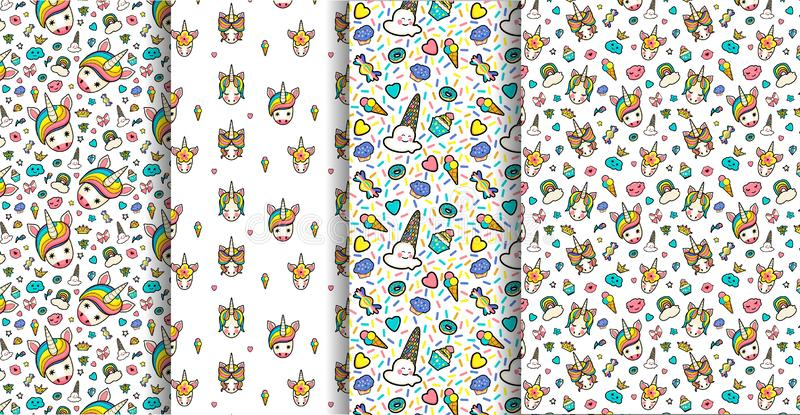 Set 4 seamless patterns with decorative with cute faces of unicorns, ice cream, stars, hearts, donut, rainbow, crowns, cupcake vector illustration