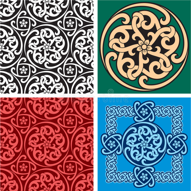Set of Seamless Patterns and Design Element royalty free illustration