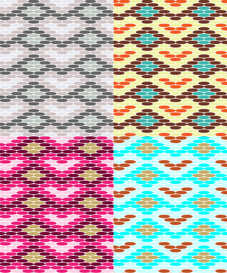 set of seamless patterns with different color shades stock vector