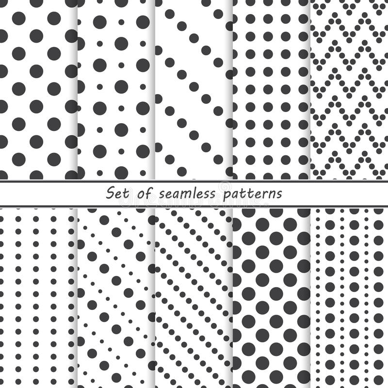 Set of seamless patterns with dots, circles. Vector background stock illustration