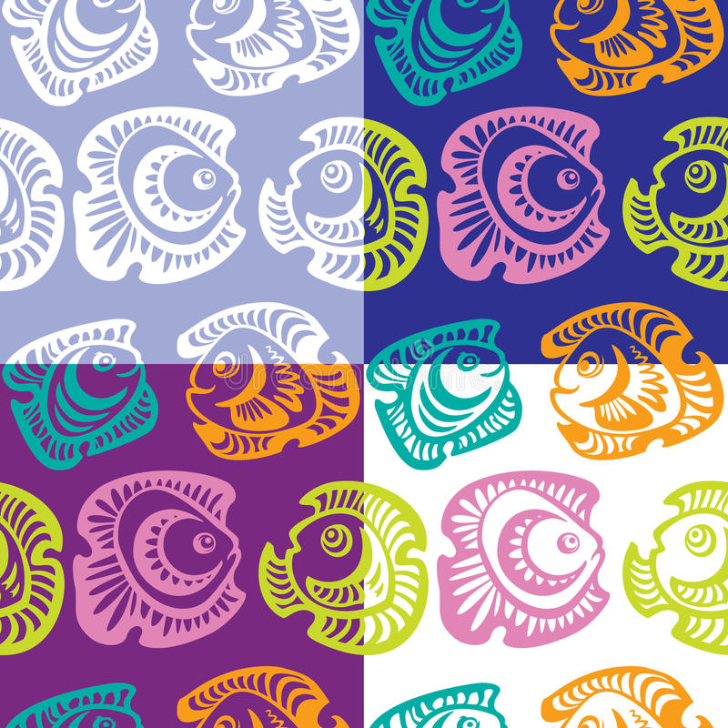 Set of seamless patterns with fish vector illustration