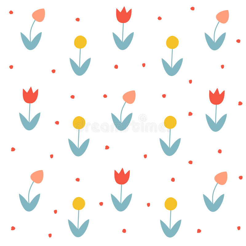 Seamless tulips floral design elements vector illustration