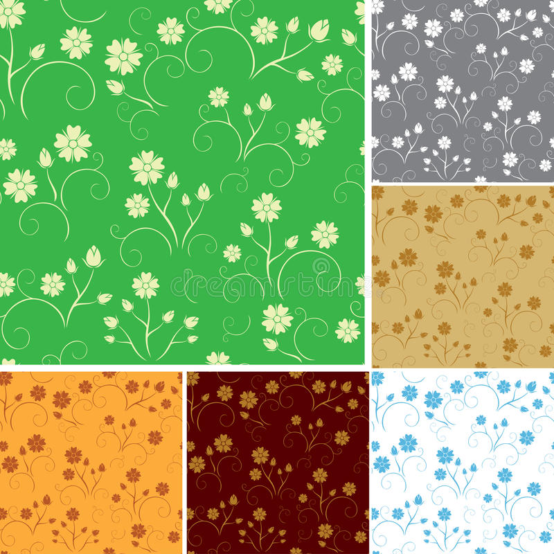 Download Set - Seamless Patterns With Flowers - Vector Stock Vector - Image: 26670155