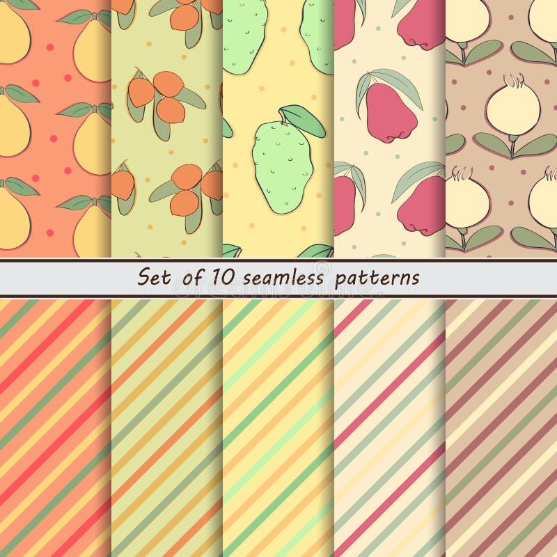 Set of seamless patterns of fruit royalty free illustration