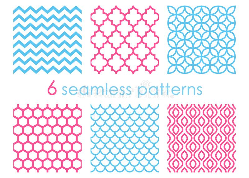 Set of seamless patterns. Geometric backgrounds. Abstract textures. Mermaid pattern. Chevron backdrop. Hexagon vector illustration